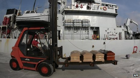 """A worker unloads refugees coffins from the military ship """"Libra"""" arriving from Lampedusa"""