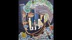 Boris Nzebo, Etat des Lieux, 2013, Signed en verso, acrylic on canvas, 230cm x 200cm