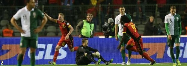 Wales dejected after Belgium goal