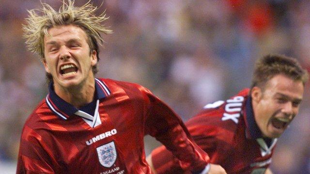 David Beckham scores against Columbia
