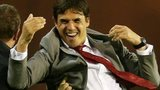 Chris Coleman celebrates Aaron Ramsey's goal
