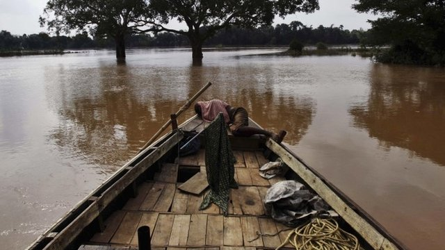 Flooding in Jajpur district, 120km (75 miles) from Bhubaneswar, the capital city of Orissa state