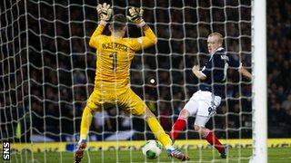 Steven Naismith scores for Scotland against Croatia