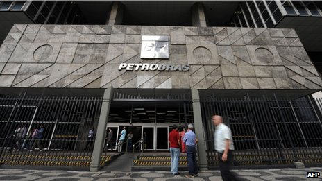 View of the entrance of state-owned oil company Petrobras in Rio de Janeiro on 22 June, 2010.