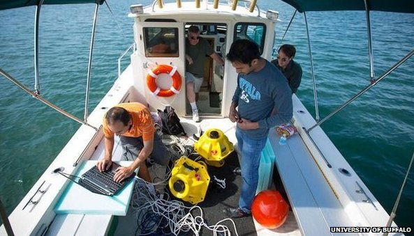 University of Buffalo underwater wi-fi testing team