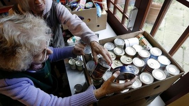 Volunteers at food bank in south London