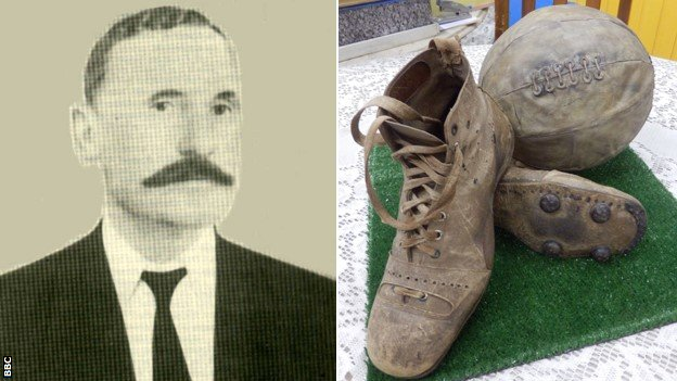 Donohoe in 1903 and a replica of a pair of his boots