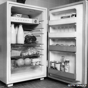 A fridge with freezer compartment, 1962