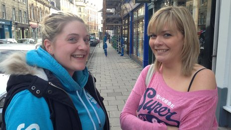 Susanna Murdoch (left), 26, a seamstress and Sami Kelly, 25 year old hairdresser