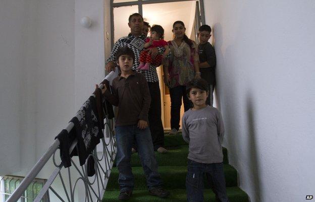Leonarda Dibrani with her family members in the town of Mitrovica, Kosovo, 16 October