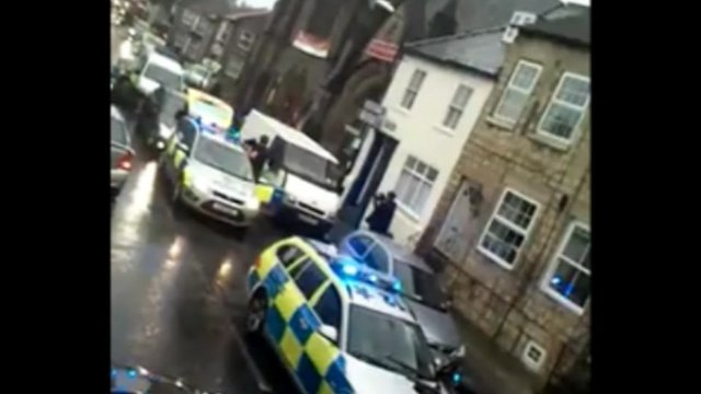 Armed police in High Street, Knaresborough