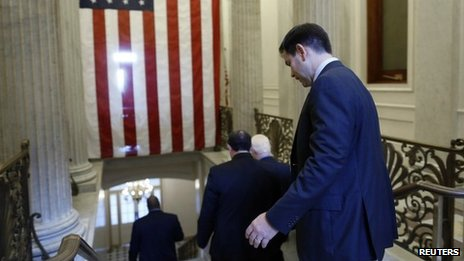 US Senator Marco Rubio departs after a Republican Senate caucus meeting at the US Capitol on 16 October 2013
