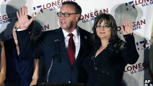 Republican senate candidate Steve Lonegan and wife Lorraine Rossi Lonegan, wave during his concession speech in Bridgewater, NJ on 16 October 2013