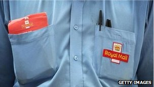 Close up of a shirt of a Royal Mail worker