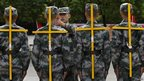 New recruits of the Chinese People's Liberation Army take part in training