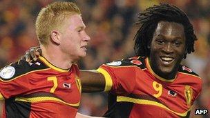 Belgium's Kevin De Bruyne and Romelu Lukaku