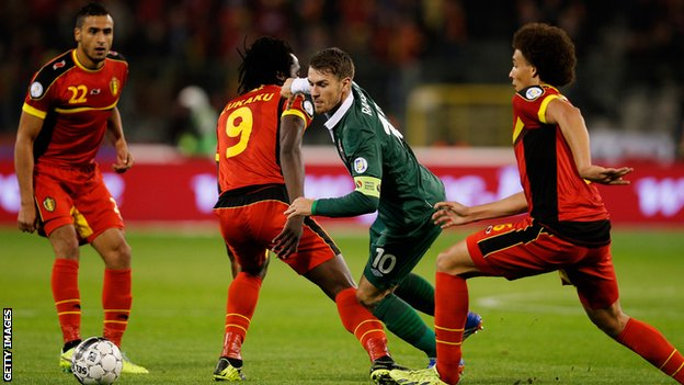 Wales' Aaron Ramsey in action against Belgium