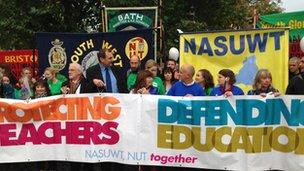 Teachers marching