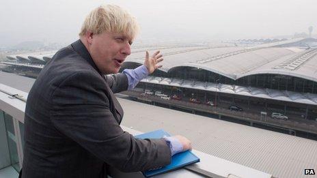 Boris Johnson takes a tour of Hong Kong International Airport