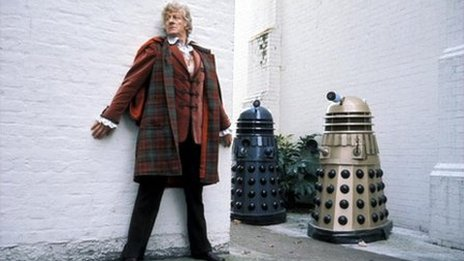 John Pertwee as Doctor Who and a dalek, 1972