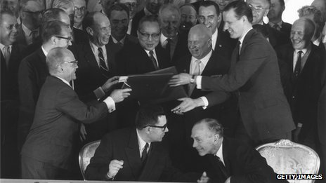 Lord Home (bottom right) at the signing the Limited Nuclear Test Ban Treaty