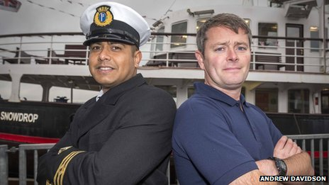 Captain's mate Ricardo Ermocilla (left) and chief engineer Ste Murphy(right)