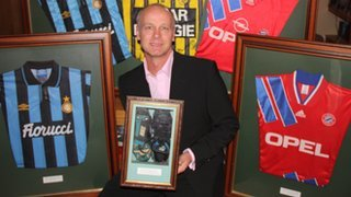 Jeremy Goss with some of his memorabilia
