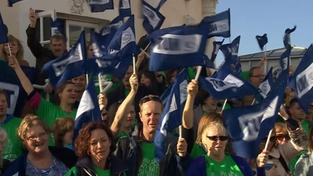 Striking teachers in Worthing, West Sussex