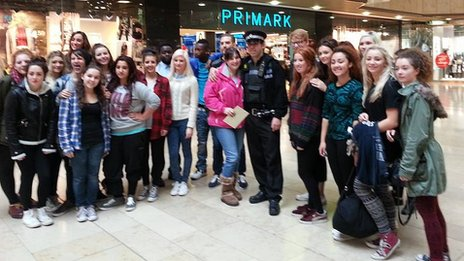 Pc Martin George and Mandi Brown with flash mob