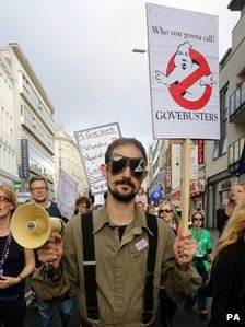 "Protester dressed as a ""Govebuster"" in Brighton."