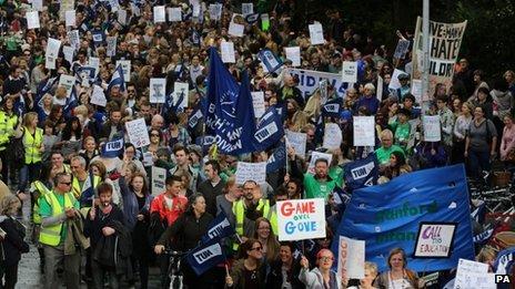 Teachers at Brighton march