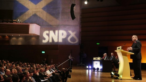 Alex Salmond makes a speech at the start of the conference