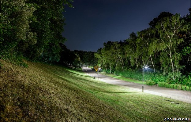 Home Banking - JTI, Brooklands Race Track at night.