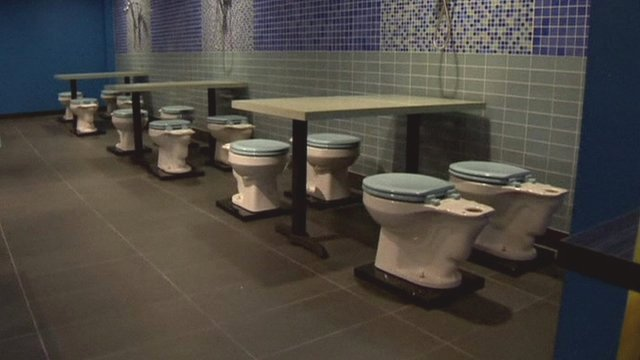 Toilet seats in the restaurant