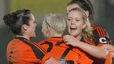 Glasgow City celebrate a goal against Standard Liege