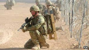 British soldier training in Afghanistan