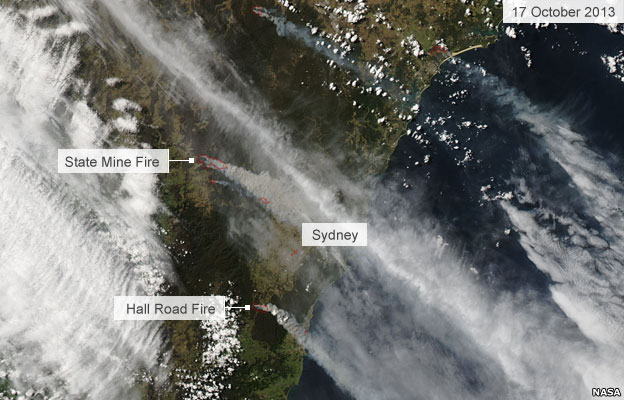 Satellite image of fires around Sydney