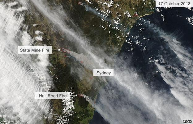 Satellite image of fires around Sydney