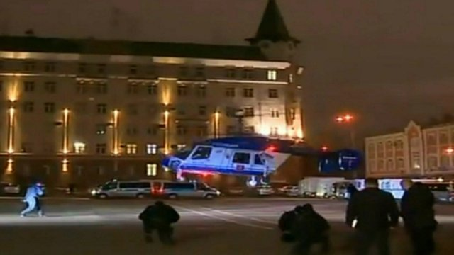 Still image of helicopter landing from Russian TV news