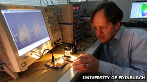 Professor Haas showing off his li-fi system