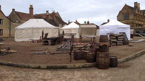 "The film's ""market square"" outside Sherborne Abbey"