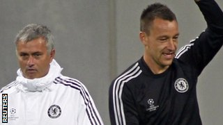 Chelsea manager Jose Mourinho with defender John Terry