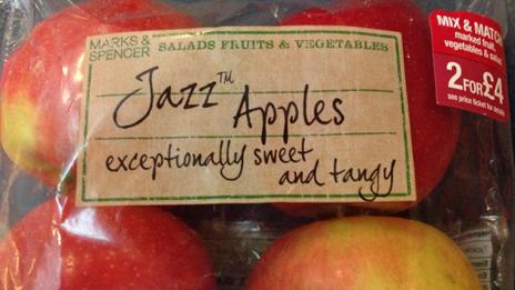 Jazz apples on shelf at M&S