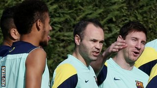 Barcelona's Neymar, Andres Iniesta and Lionel Messi