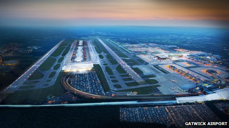 Artist's impression of an expanded Gatwick