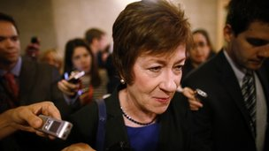 Sen Susan Collins was followed by reporters on Capitol Hill in Washington on 12 October 2013