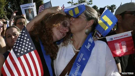 Supporters celebrate a landmark Supreme Court ruling upholding gay marriage rights in California on 26 June 2013