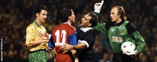 Lothar Matthaus confronts Bryan Gunn