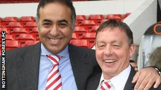Nottingham Forest manager Billy Davies and chairman Fawaz Al Hasawi