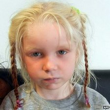 Handout photo released by Greek Police on October 18, 2013 shows an unidentified 4-year-old blonde girl whom was found on October 17, 2013 near Farsala in central Greece